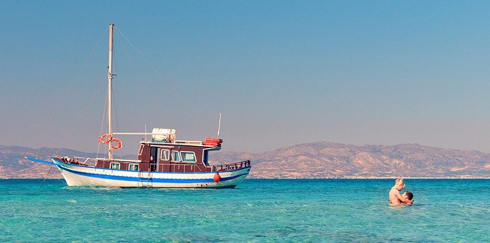 Chrissi Insel mit dem Boot